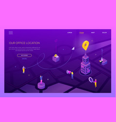 our office location - modern colorful isometric vector image