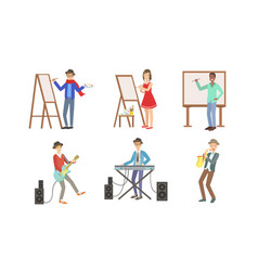 people creative professions set artists vector image