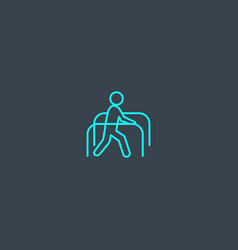 Physiotherapy concept blue line icon simple thin vector