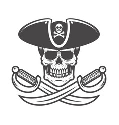pirate skull with crossed sabers design element vector image