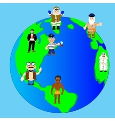 Planet land and people vector