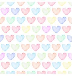 rainbow pastel watercolor heart seamless pattern vector image