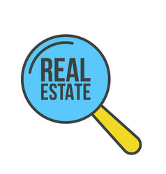real estate word magnifying glass vector image
