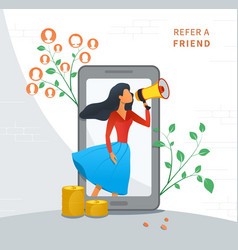 refer a friend and earn money customer loyalty vector image