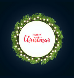 round christmas design with light bulb garland and vector image