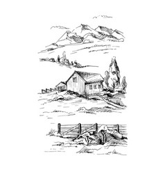 rural landscape sketch vector image