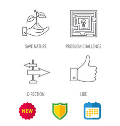 save nature thumb up and direction icons vector image
