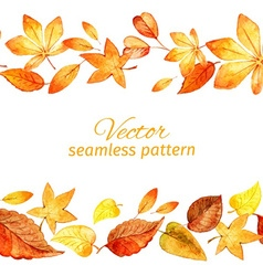 Seamless pattern of autumn leaves two lanes vector image