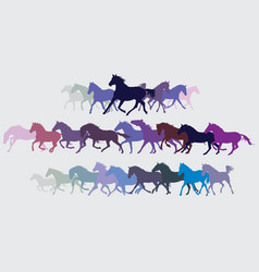 Set of colorful running horses silouettes vector