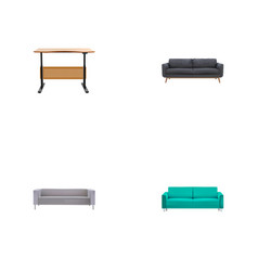 set of decoration realistic symbols with couch vector image