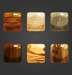 Set of shiny wooden square button vector