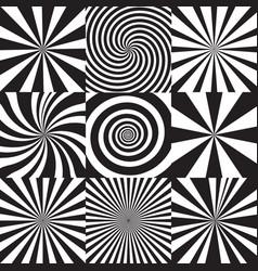 set sunburst and spiral backgrounds vector image