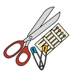 sewing scissors with pins and hooks vector image