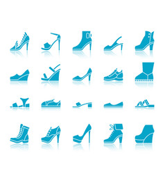 shoes color silhouette icons set vector image