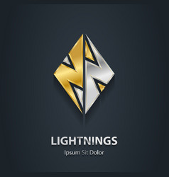 Silver and gold Flash 3d logo with lightning vector
