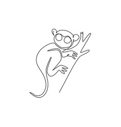Single one line drawing funny tarsier vector
