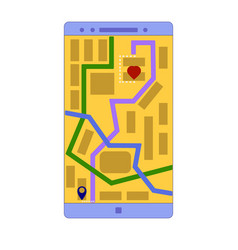 smartphone application showing the shortest path vector image