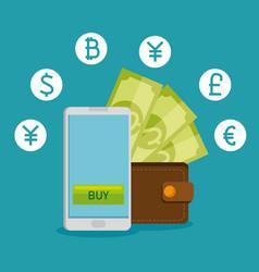 smartphone with virtual exchange financial vector image