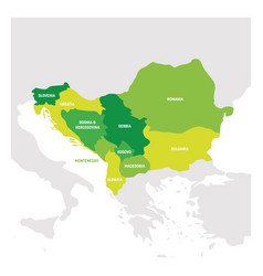 Southeast europe region map countries of vector