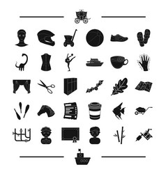 Sport interior and other web icon in black style vector