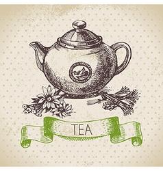 Tea vintage background vector