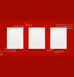three realistic white photo or photo frame on red vector image