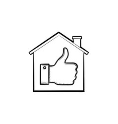 thumb up house hand drawn outline doodle icon vector image