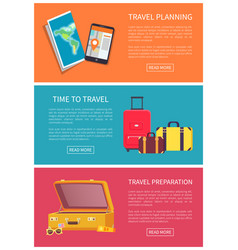 Time to travel planning and preparation color card vector