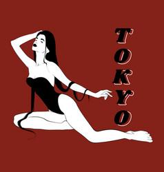 Tokyo hand drawn girl in swimsuit vector