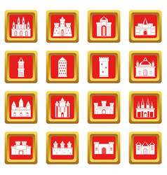 Towers and castles icons set red vector