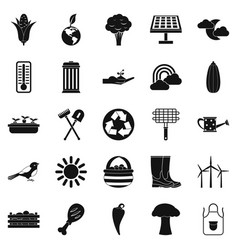 vegetable shop icons set simple style vector image