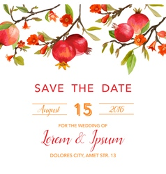 Wedding Invitation Card - with Pomegranates vector