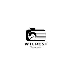 Wildlife shutter camera lens photography logo vector