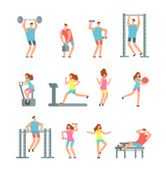 Woman and man doing various sports exercises with vector