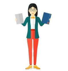 Woman choosing between book and tablet vector