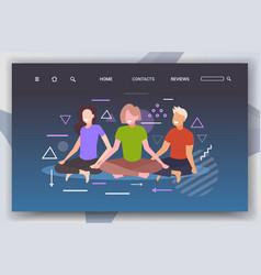 Women sitting lotus pose girls practicing yoga vector