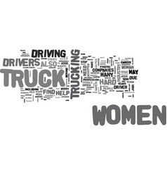 Women truck drivers text word cloud concept vector
