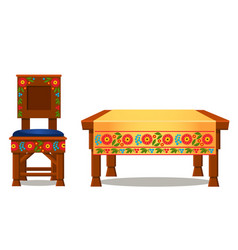 wooden chair with upholstery and table with vector image