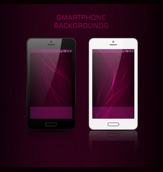 black and white mobile phone with wavy background vector image vector image