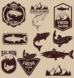 fresh salmon labels set vector image vector image