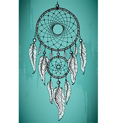 Hand drawn dream catcher with ornamental feathers vector image vector image