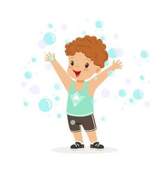 happy redhead boy playing bubbles vector image vector image