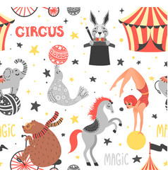 seamless pattern of circus animal vector image