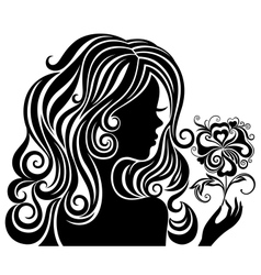 Silhouette of a girl with a flower vector image vector image