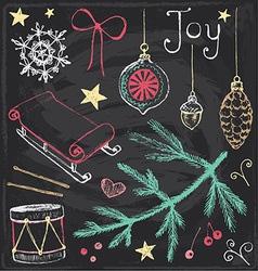 Vintage Christmas Chalkboard Hand Drawn Set 4 vector image