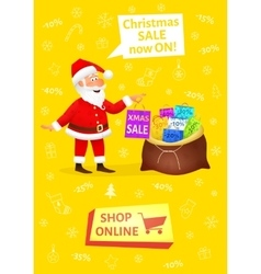 Xmas banner with button shop online Sale poster vector image vector image