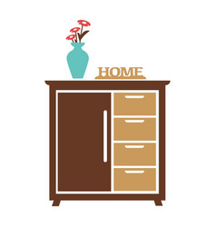 brown cupboard with blue flower vase carved sign vector image vector image