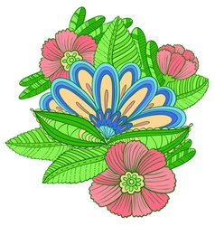 Composition with decorative flowers vector