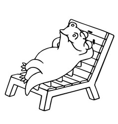 dinosaur lays on a deck-chair vector image vector image