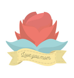 love you mom red flower ornament decoration vector image vector image